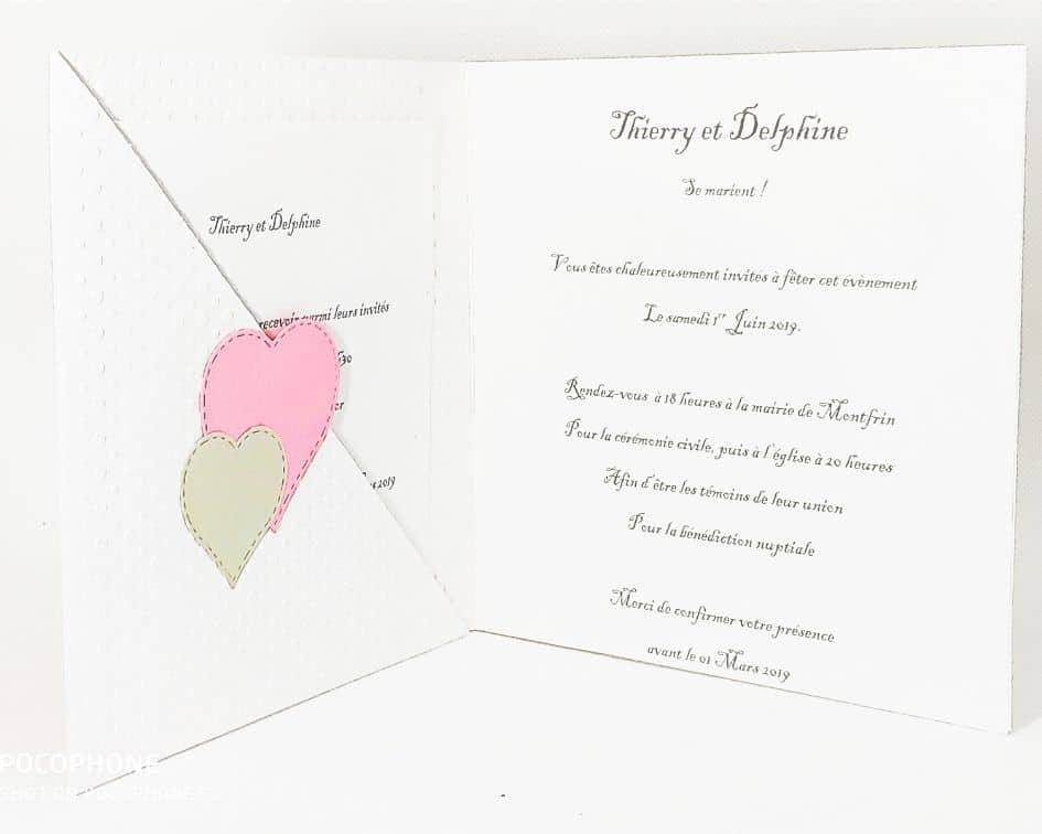 Faire-part rose et blanc - Thierry et delphine, riose et blanc, blanc et rose, scrap, fleur, pochette intérieure, carré, idealisa