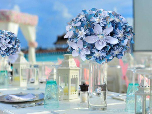 centre de table en fleurs origami – marie poppins fleurs en etoile en papier origami avec dessin idealisa