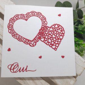 faire part blanc et rouge carte invitation mariage coeur scrapbooking idealisa