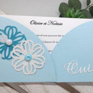 faire part turquoise et blanc carte invitation mariage fleurs et perles nacrées scrapbooking idealisa