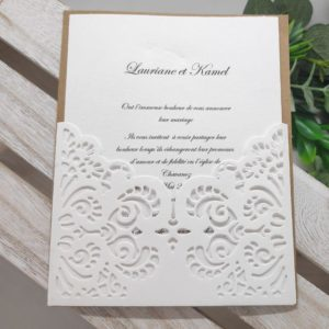 faire part blanc et kraft oriental carte invitation mariage finement dentele idealisa