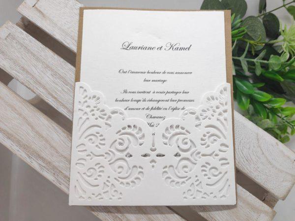 faire part blanc et kraft oriental carte invitation mariage finement dentele idealisa