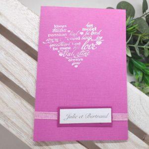 faire part fushia carte invitation mariage scrapbooking avec coeur et ruban de satin idealisa