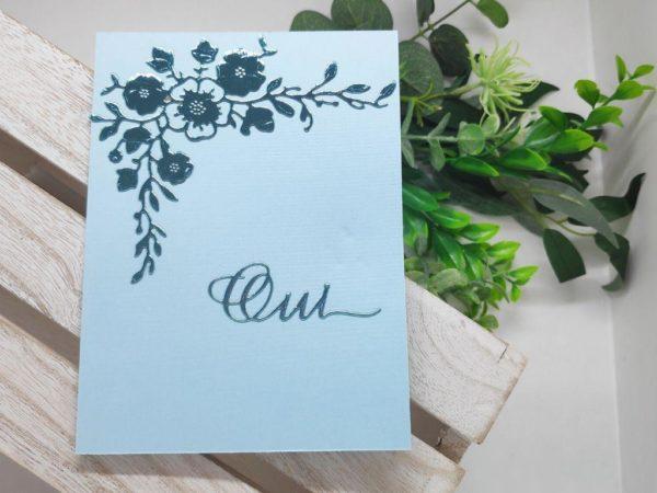 faire part turquoise carte invitation mariage decoupe de fleurs scrapbooking idealisa