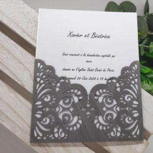 faire part blanc et gris oriental carte invitation mariage decoupe ciselee idealisa