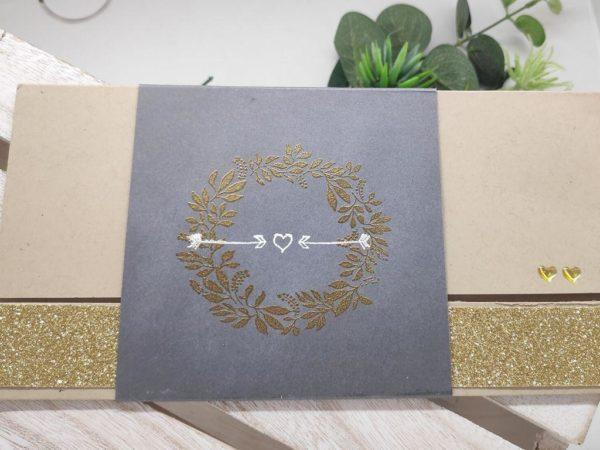 faire part chic et dore carte invitation mariage kraft et doré scrapbooking idealisa