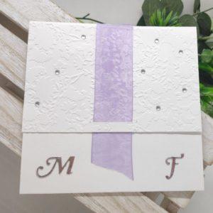 faire part blanc et parme carte invitation mariage papier gaufre scrapbooking idealisa