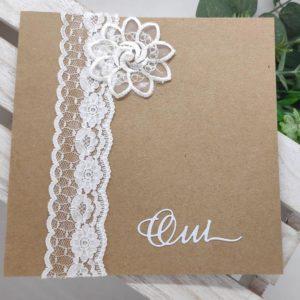 faire part kraft et dentelle carte invitation mariage champetre idealisa