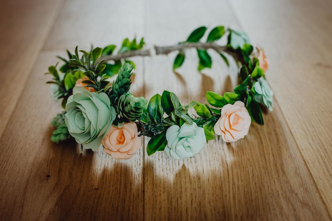 photo blog couronne de fleurs origami menthe et corail
