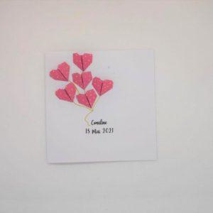 faire part naissance coeurs en origami