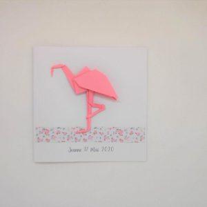 faire part flamand rose origami en relief par idealisa