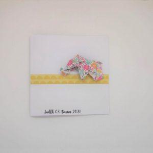faire part naissance relief elephant en origami
