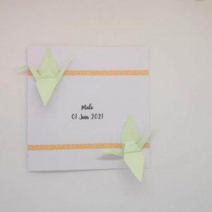 faire part naissance relief grues en origami