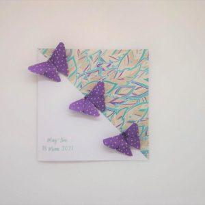 faire part naissance relief papillons en origami violet