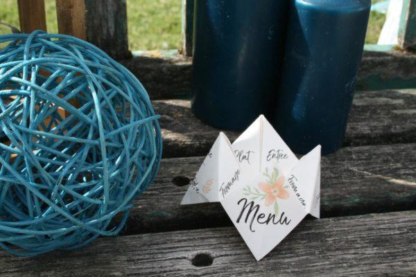 menu cocotte - cocotte en papier avec menu de mariage par idealisa.