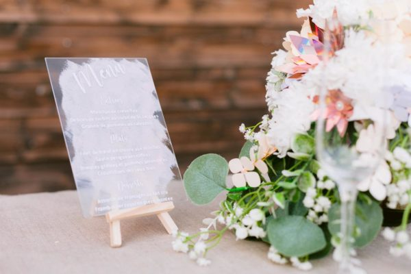 Menu de mariage sur verre en vinyle