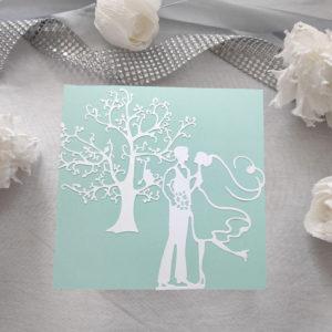 faire part vert d'eau carte invitation mariage avec decoupe de maries en scrapbooking faire-part maries idealisa