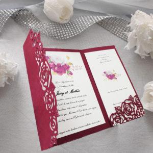 faire part mariage pochette de roses bordeaux