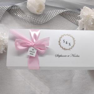 faire part blanc, rose et dore invitation mariage ruban rose et epi dore - idealisa