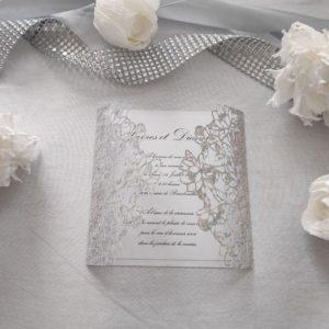 faire part mariage romantique gris ciselé