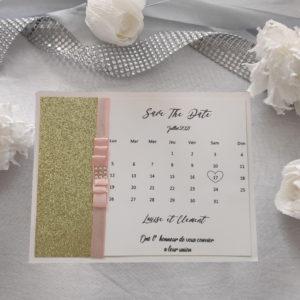 save the date chic doré avec ruban rose