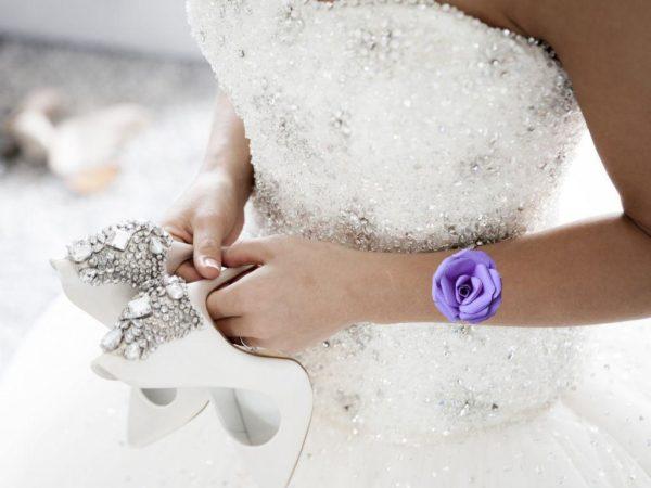bracelet de mariage rose origami boutonniere mariee rose en papier origami parme idealisa