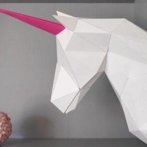 licorne papercraft trophée en tete de licorne en papier idealisa
