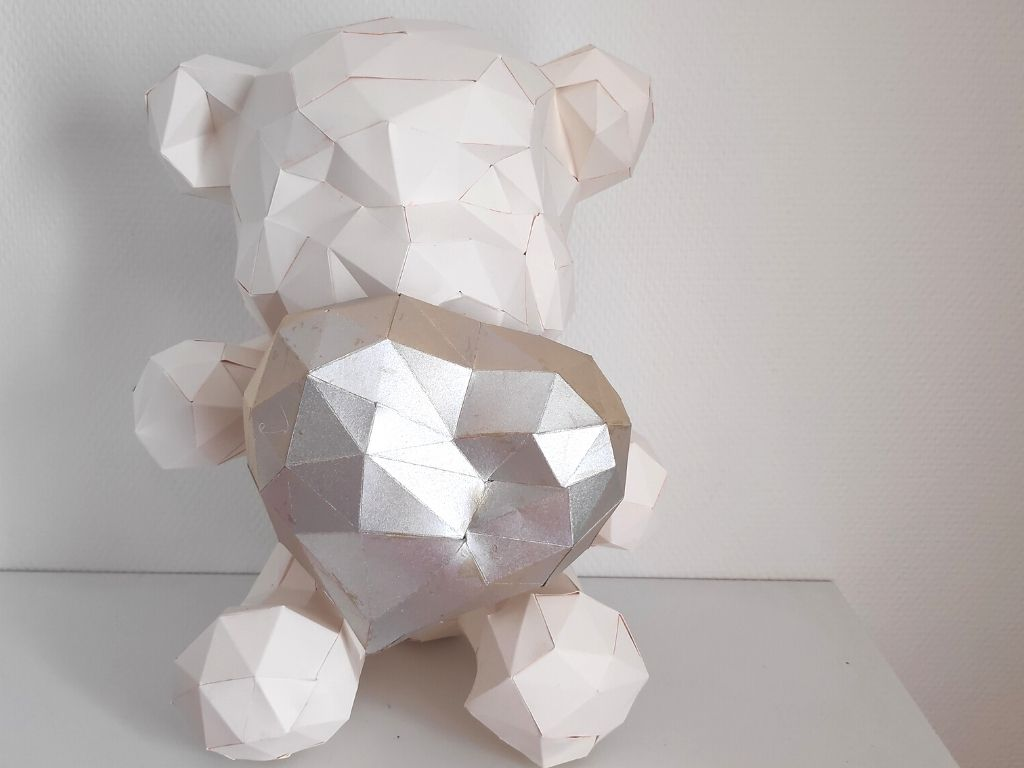 ourson teddy love papercraft