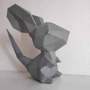 souris papercraft grise