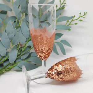 flute a champagne paillette cuivre avec nuance de 3 grosseurs de paillettes