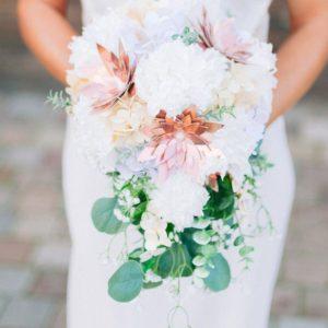 bouquet de mariee origami blanc et rose cuivre