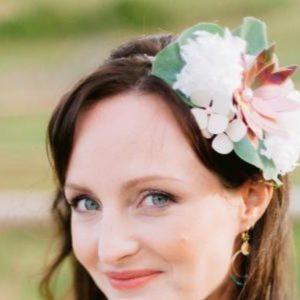 accessoire de cheveux mariee blanc et rose cuivre