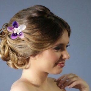accessoire de cheveux mariee origami blanc et violet barrette a cheveux avec fleur en etoile en papier parme idealisa