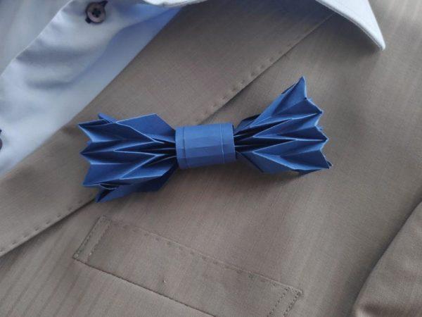 noeud de papillon origami bleu