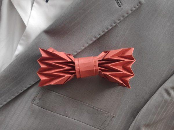 accessoire de costume homme -noeud de papillon origami rouille