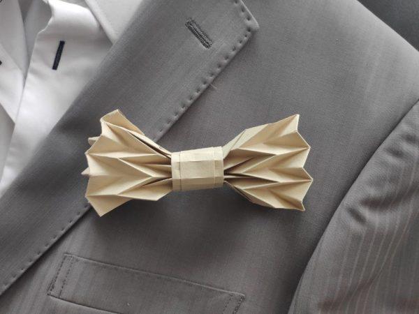 noeud de papillon origami taupe